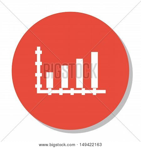 Vector Illustration Of Statistics Icon On Bar Chart Graph In Trendy Flat Style. Statistics Isolated