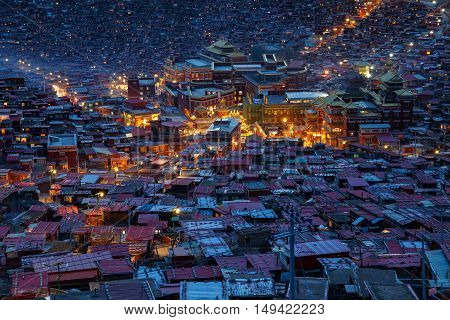 Top view monastery at Larung gar (Buddhist Academy) in twilight time Sichuan China