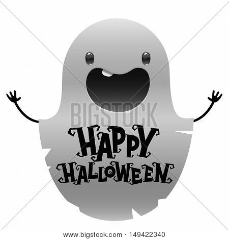 Happy Halloween cute cartoon ghost on white background