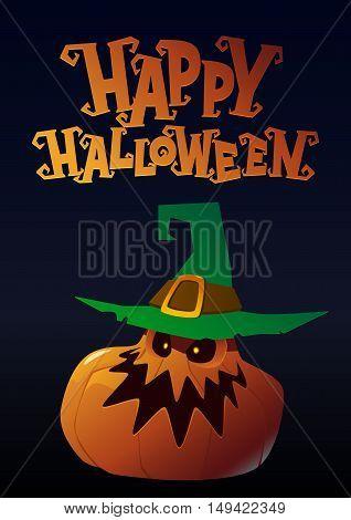 Happy Halloween bad pumpkin with hat cartoon