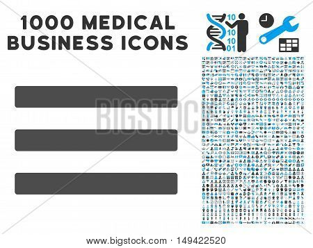 Menu icon with 1000 medical commerce gray and blue vector pictographs. Clipart style is flat bicolor symbols, white background.