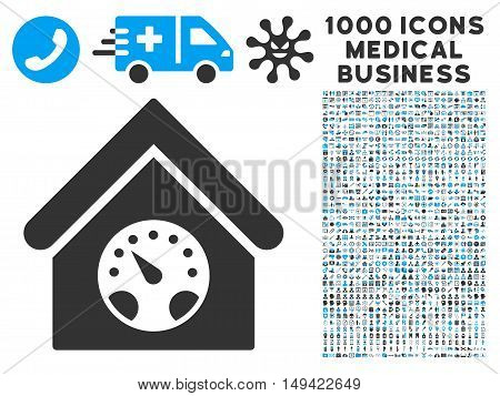 Meter Building icon with 1000 medical commerce gray and blue vector design elements. Set style is flat bicolor symbols, white background.