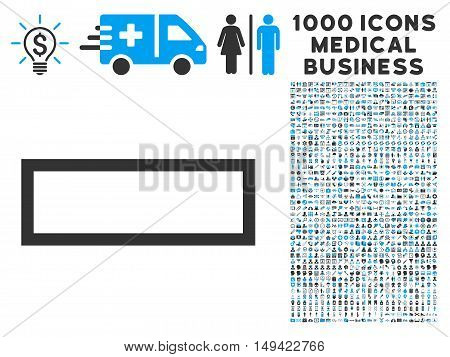 Minus icon with 1000 medical commerce gray and blue vector design elements. Collection style is flat bicolor symbols, white background.