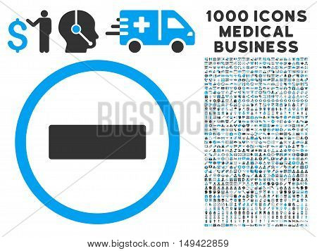 Minus icon with 1000 medical commercial gray and blue vector pictographs. Design style is flat bicolor symbols, white background.