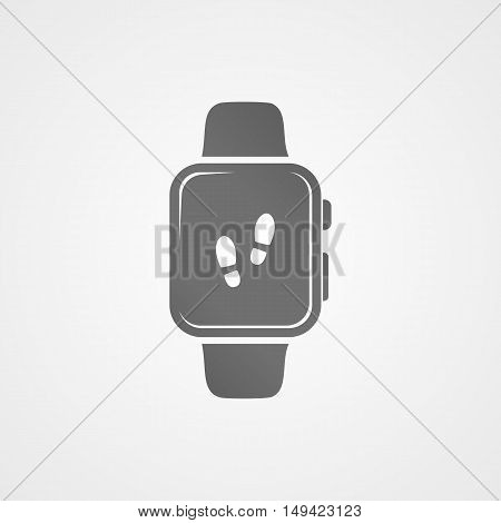 Smart watch with application icon on screen vector illustration.