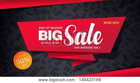 Big sale banner template design. Red icon on a dark background