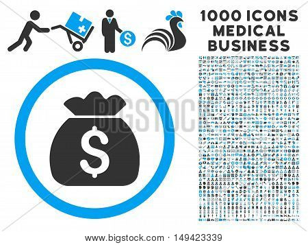 Money Bag icon with 1000 medical commerce gray and blue vector pictograms. Set style is flat bicolor symbols, white background.