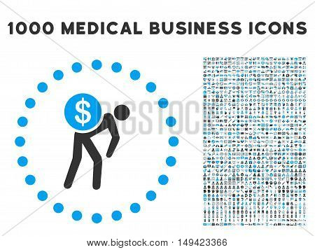 Money Courier icon with 1000 medical business gray and blue vector pictographs. Clipart style is flat bicolor symbols, white background.