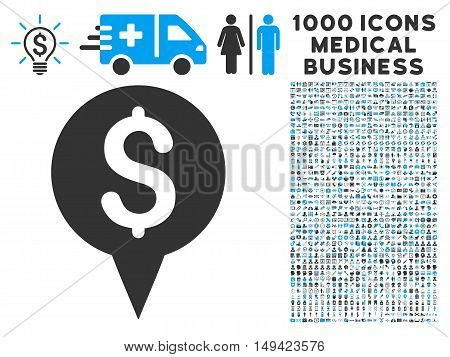 Money Map Marker icon with 1000 medical commercial gray and blue vector pictographs. Set style is flat bicolor symbols, white background.