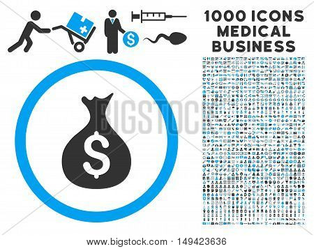 Money Sack icon with 1000 medical commercial gray and blue vector design elements. Collection style is flat bicolor symbols, white background.