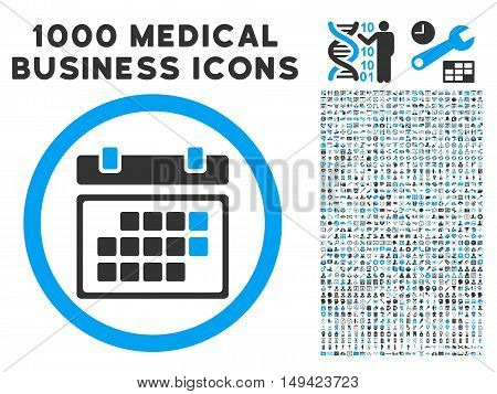 Month Calendar icon with 1000 medical commerce gray and blue vector pictograms. Set style is flat bicolor symbols, white background.