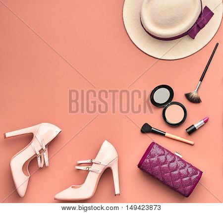Fashion Lady Accessories Set. Fashion Cosmetic Makeup. Stylish Handbag Glamor Heels Hat. Trendy fashion Design. Top view. Woman Essentials. Fall Fashion. Vintage. Retro. Cosmetic Overhead. Minimal