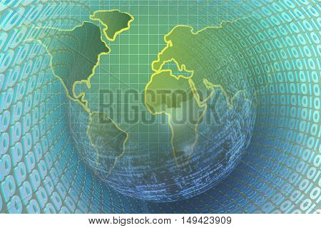 Computer background with world map and digits.
