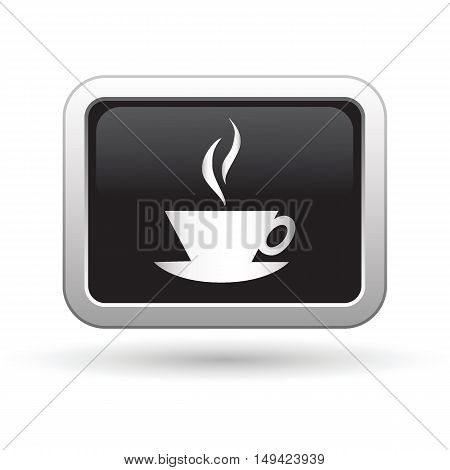 Cup icon on the button. Vector illustration