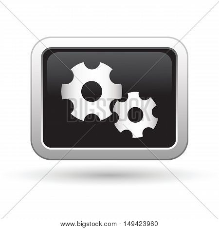 Gears icon on the button. Vector illustration