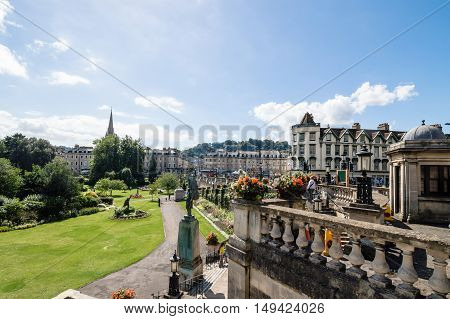 Bath UK - August 15 2015: Public park and cityscape in the city of Bath Somerset England UK