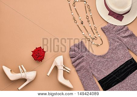 Vintage. Autumn Fashion woman Clothes Accessories Set. Design fashion Concept. Stylish Lady Dress, Glamor Heels Hat Rose. Trendy fashion Design. Top view. Fall Fashion Outfit.Creative Overhead Minimal