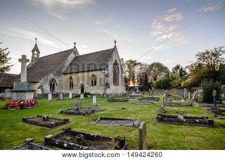 Tetbury UK - August 15 2015: St Saviour Church. Outdoor view at sunset.