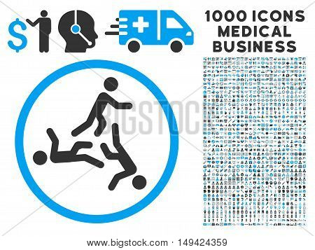 Moving Men icon with 1000 medical commercial gray and blue vector design elements. Clipart style is flat bicolor symbols, white background.