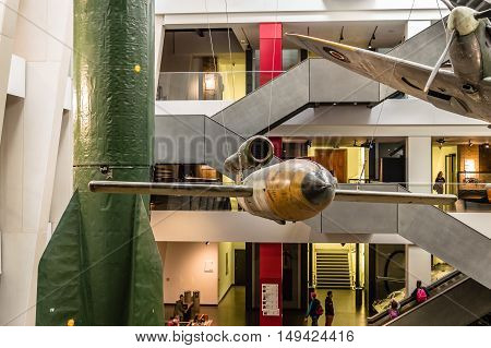 LONDON UK - AUGUST 25 2015: Imperial War Museum. Indoor view of V1 and V2 rockets