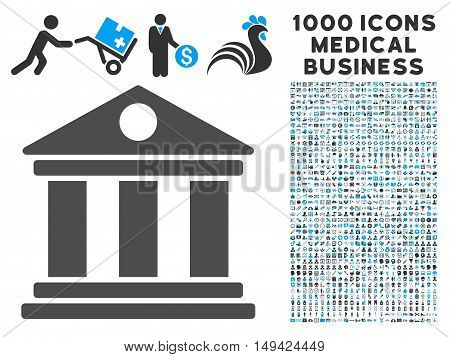 Museum icon with 1000 medical commerce gray and blue vector pictographs. Collection style is flat bicolor symbols, white background.