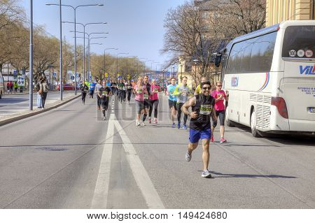 STOCKHOLM SWEDEN - May 04.2013: Public free sporting event. Professional athletes and sports fans participate in the marathon through the streets of the city