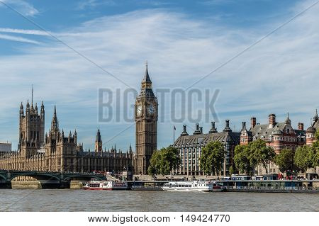LONDON UK - AUGUST 22 2015: The Big Ben the Houses of Parliament and Westminster Bridge in London