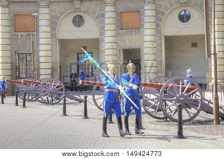 STOCKHOLM SWEDEN - May 04.2013: Changing of the guard ceremony with the participation of the Royal Guard cavalry. The colorful ceremony attracts many tourists and has become a tourist sights