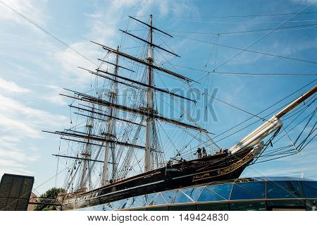 LONDON UK - AUGUST 22 2015: Greenwich London Cutty Sark is a British clipper ship. She was one of the last tea clippers to be built and one of the fastest.