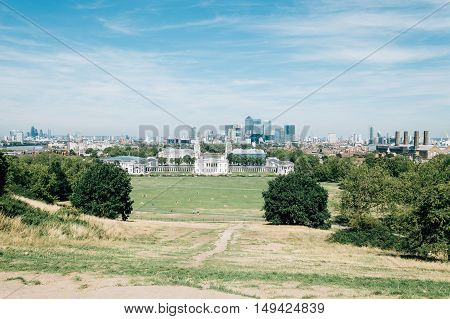 LONDON UK - AUGUST 22 2015: London cityscape from Royal Observatory Greenwich a sunny day of summer.