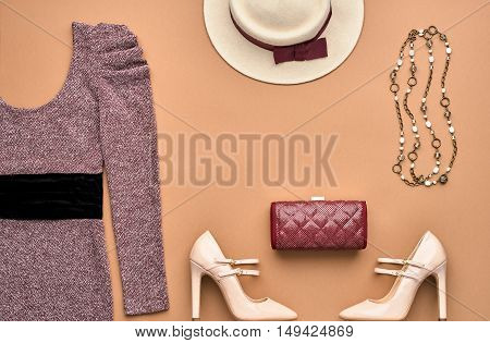 Autumn Fashion woman Clothes Accessories Set. Design fashion Concept. Stylish Dress, Handbag Clutch, Glamor Heels. Trendy fashion Design. Top view. Fall Fashion Outfit. Vintage Retro.Creative Overhead