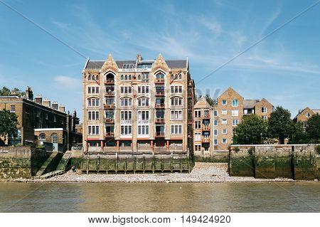 LONDON UK - AUGUST 22 2015: Housing in London riverside. Oliver´s Wharf