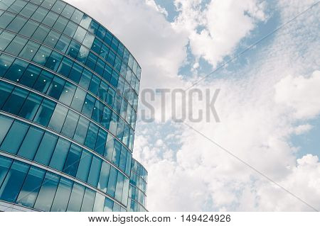 LONDON UK - AUGUST 22 2015: Low angle view of an office building in London near City Hall