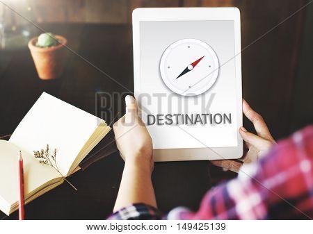 Destination Location GPS Map Concept