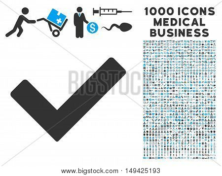 Ok icon with 1000 medical commerce gray and blue vector design elements. Collection style is flat bicolor symbols, white background.