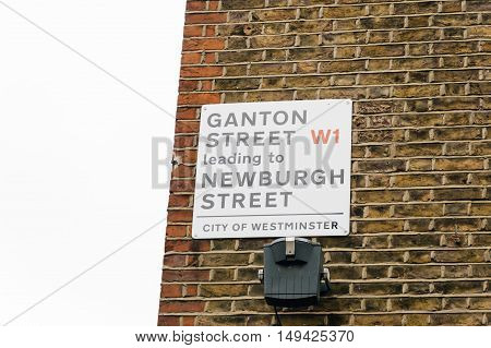 LONDON UK - AUGUST 24 2015: Ganton street sign London UK