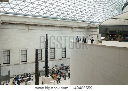 LONDON UK - AUGUST 20 2015: British Museum main court double height. The British Museum in London is dedicated to human history and culture.