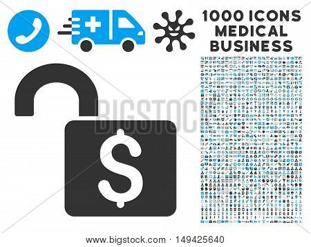 Open Banking Lock icon with 1000 medical commercial gray and blue vector pictograms. Collection style is flat bicolor symbols, white background.