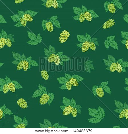 Seamless texture with sketch green hop illustration on green background