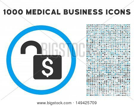 Open Banking Lock icon with 1000 medical business gray and blue vector pictograms. Clipart style is flat bicolor symbols, white background.