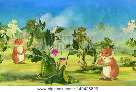 Two Hamsters on Pea Field. Digital painting cartoon style full color illustration.