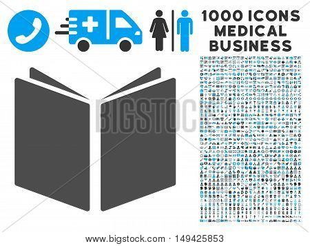 Open Book icon with 1000 medical commercial gray and blue vector pictograms. Clipart style is flat bicolor symbols, white background.
