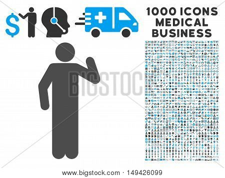 Opinion Pose icon with 1000 medical commerce gray and blue vector pictograms. Design style is flat bicolor symbols, white background.