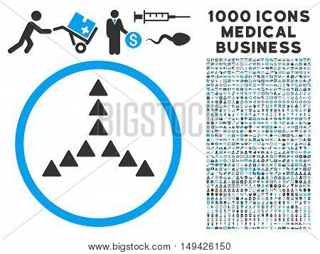 Outside Direction icon with 1000 medical commercial gray and blue vector pictograms. Set style is flat bicolor symbols, white background.