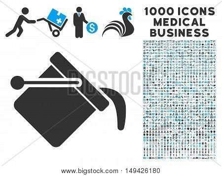 Paint Bucket icon with 1000 medical commerce gray and blue vector pictograms. Collection style is flat bicolor symbols, white background.