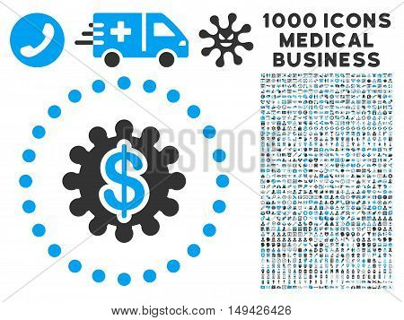 Payment Options icon with 1000 medical commercial gray and blue vector design elements. Set style is flat bicolor symbols, white background.
