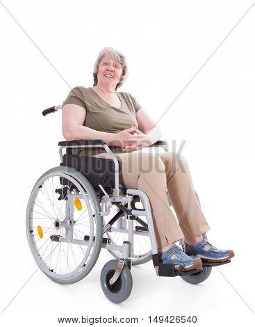Senior sitting in wheelchair. All on white background.