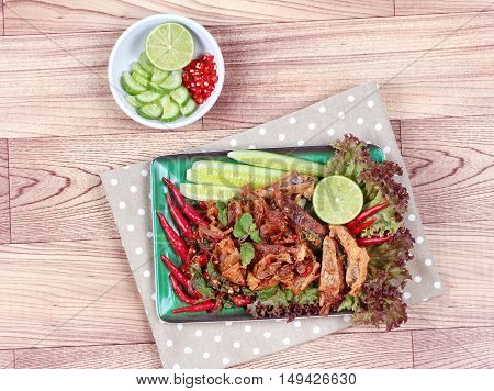 Spicy sour mixed herb salad with fried stir taro in tofu sheet for  in Vegetable festival of Chinese as