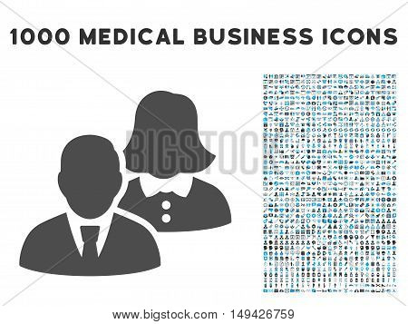 People icon with 1000 medical commerce gray and blue vector pictograms. Set style is flat bicolor symbols, white background.