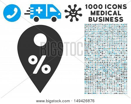 Percent Map Marker icon with 1000 medical commerce gray and blue vector pictographs. Collection style is flat bicolor symbols, white background.